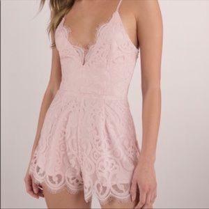 NWT Tobi Blush Lace Romper Size L